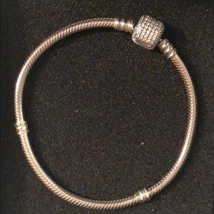 Pandora Sparkling Pavé Clasp Snake Chain Bracelet